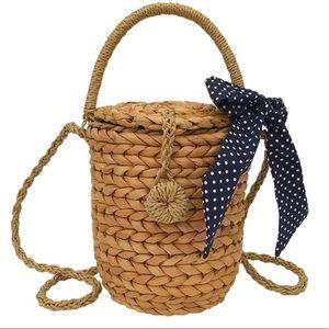Handbags - Adorable bucket bag with navy polka dot lining